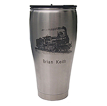 Jamieson Laser Travel Mug: Laser Engraving with Rotary Fixture