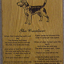 Jamieson Laser Dog Plaque: Wood Engraving on Plaque